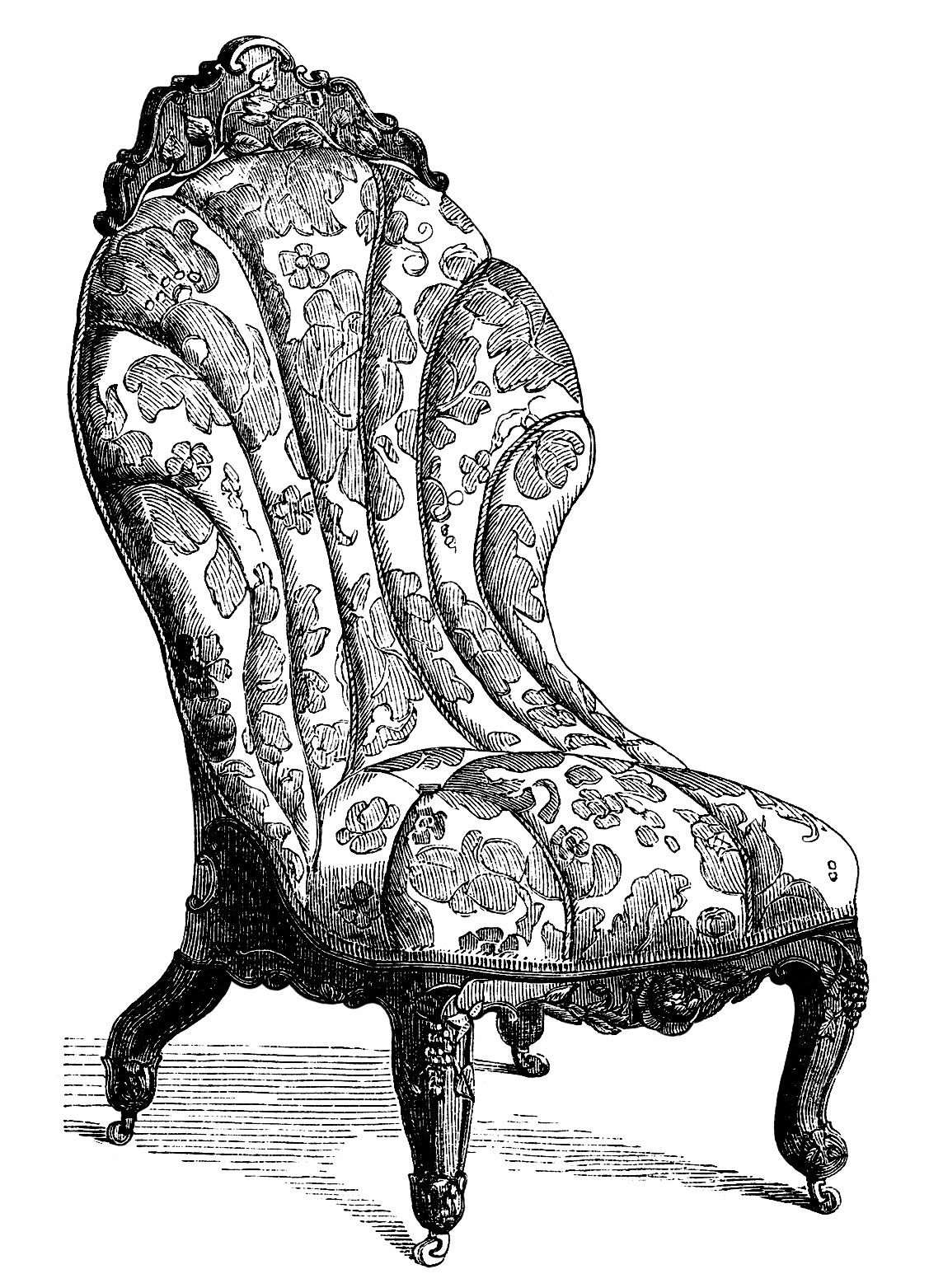 Furniture clipart victorian furniture. Clip art vintage couch
