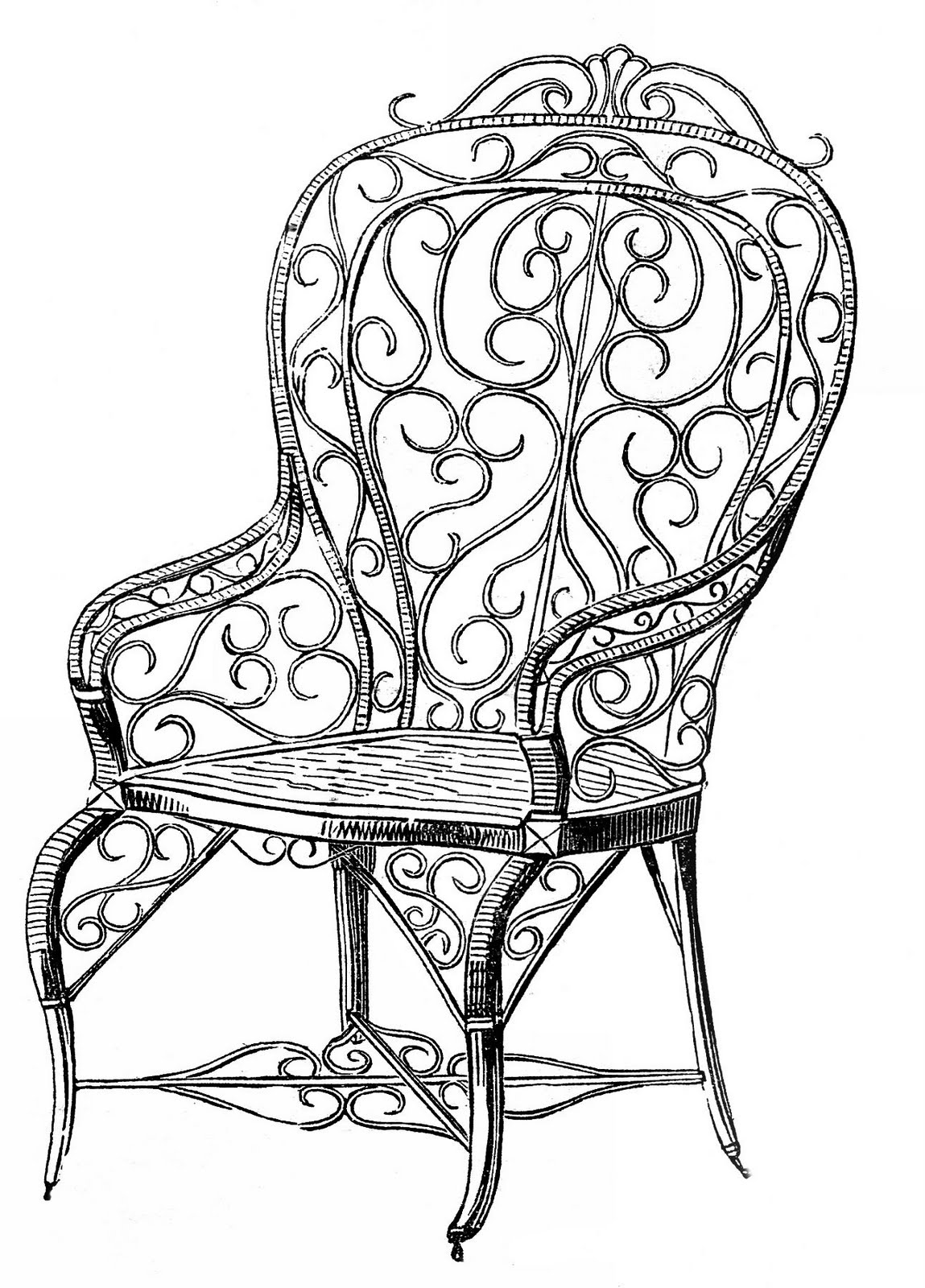 Furniture clipart wedding chair. Vintage clip art wicker
