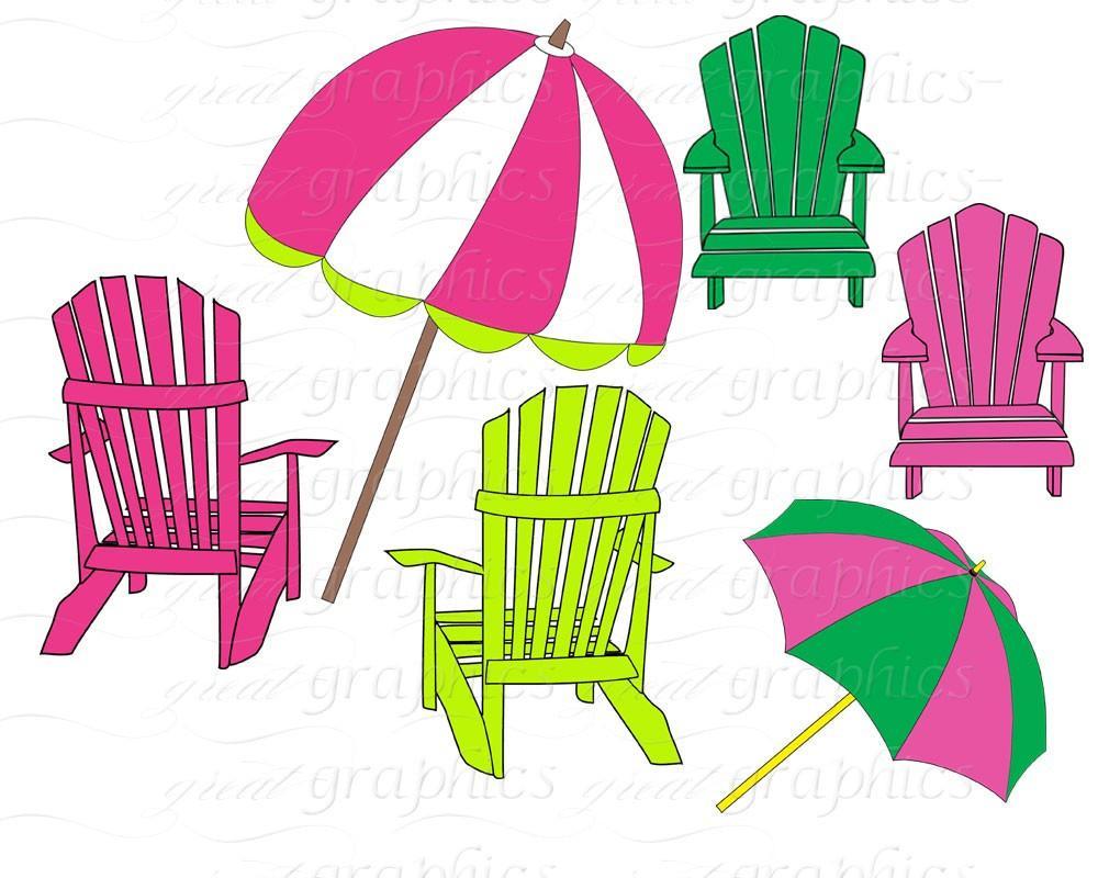 Beach clipart printable. Clip art digital chair