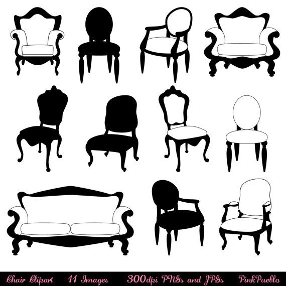 Furniture clipart object. Chair clip art silhouettes
