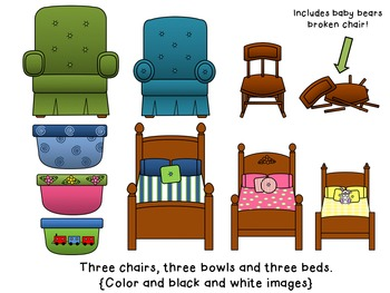 Chair clipart three chair. Goldilocks and the bears