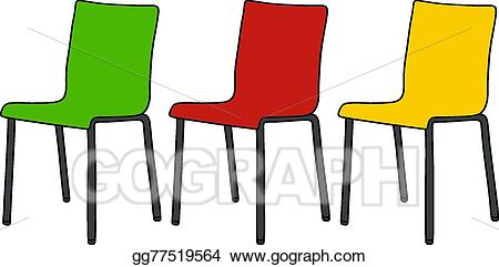 Vector stock color chairs. Chair clipart three chair