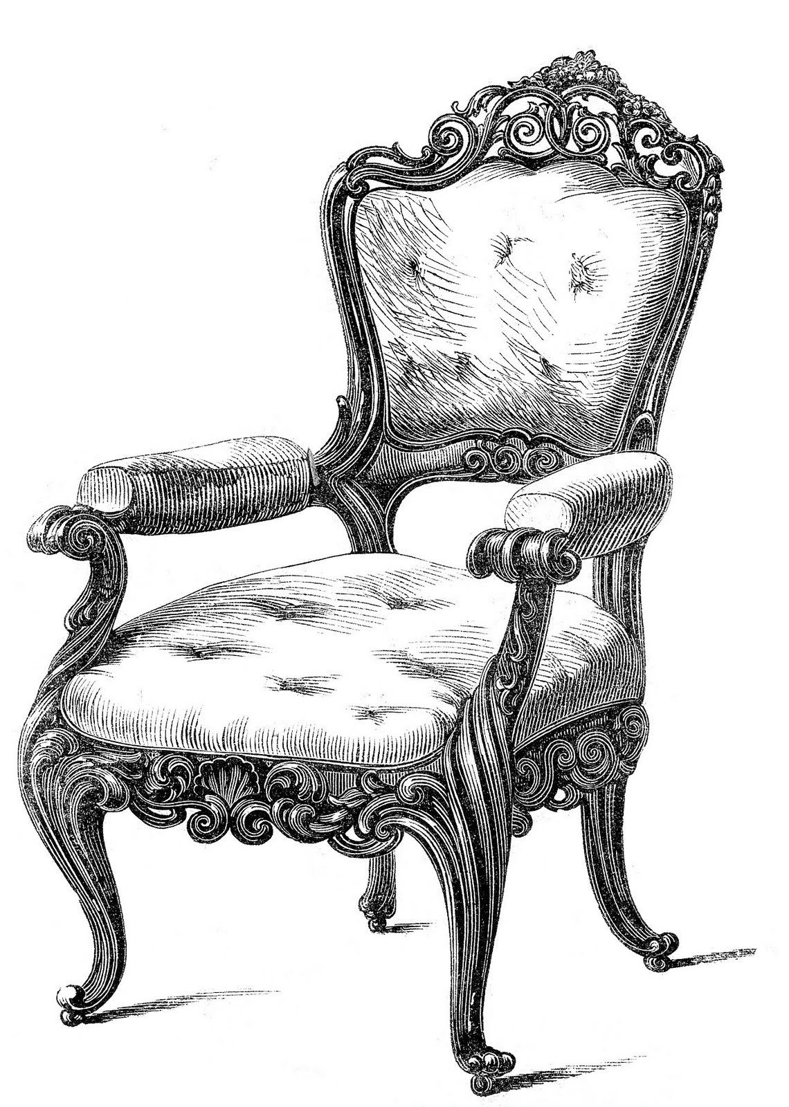Clip art fancy chairs. Furniture clipart vintage furniture