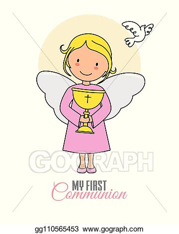 Chalice clipart angel. Eps illustration girl with