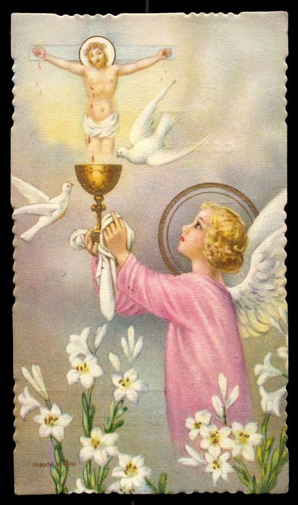 Chalice clipart angel. Vintage holy card gilded