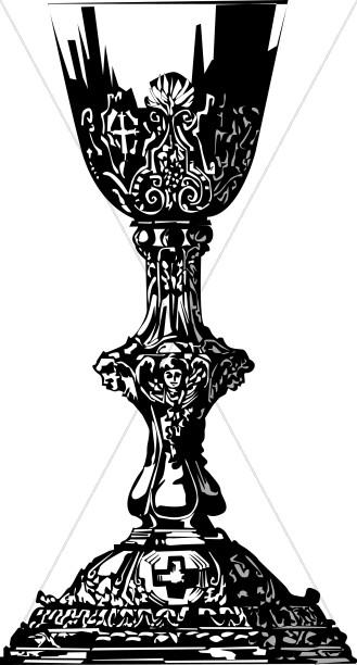 Gothic in black communion. Chalice clipart bulletin