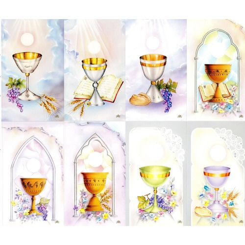 First personalized prayer cards. Chalice clipart holy communion