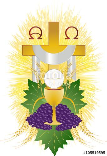 Eucharist symbol of bread. Chalice clipart host