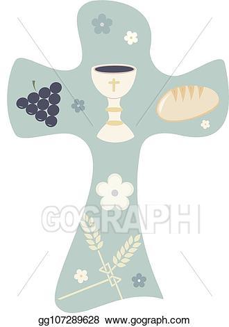 Chalice clipart religious. Vector stock christian cross