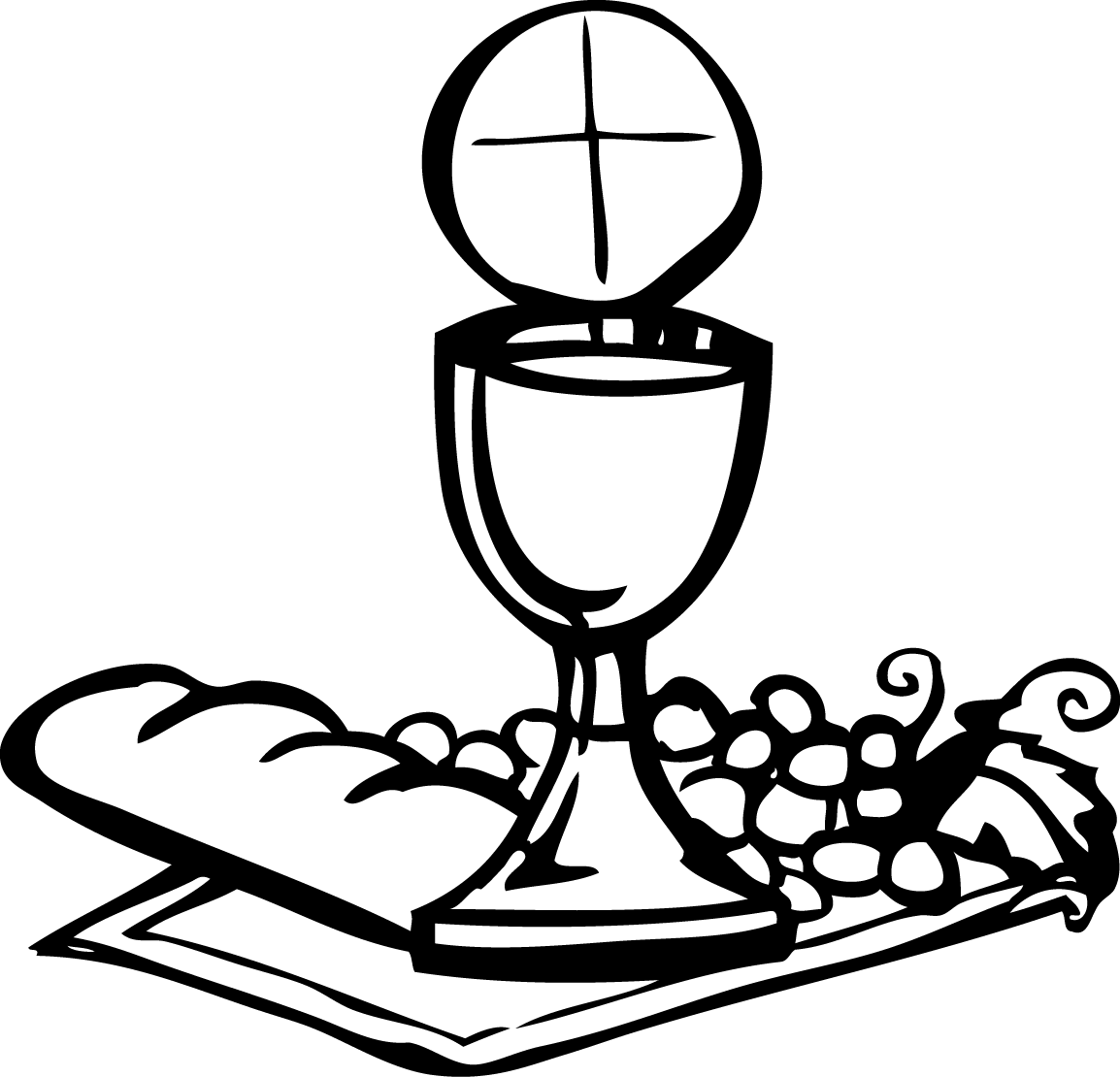 Grape clipart first communion. Chalice and the host