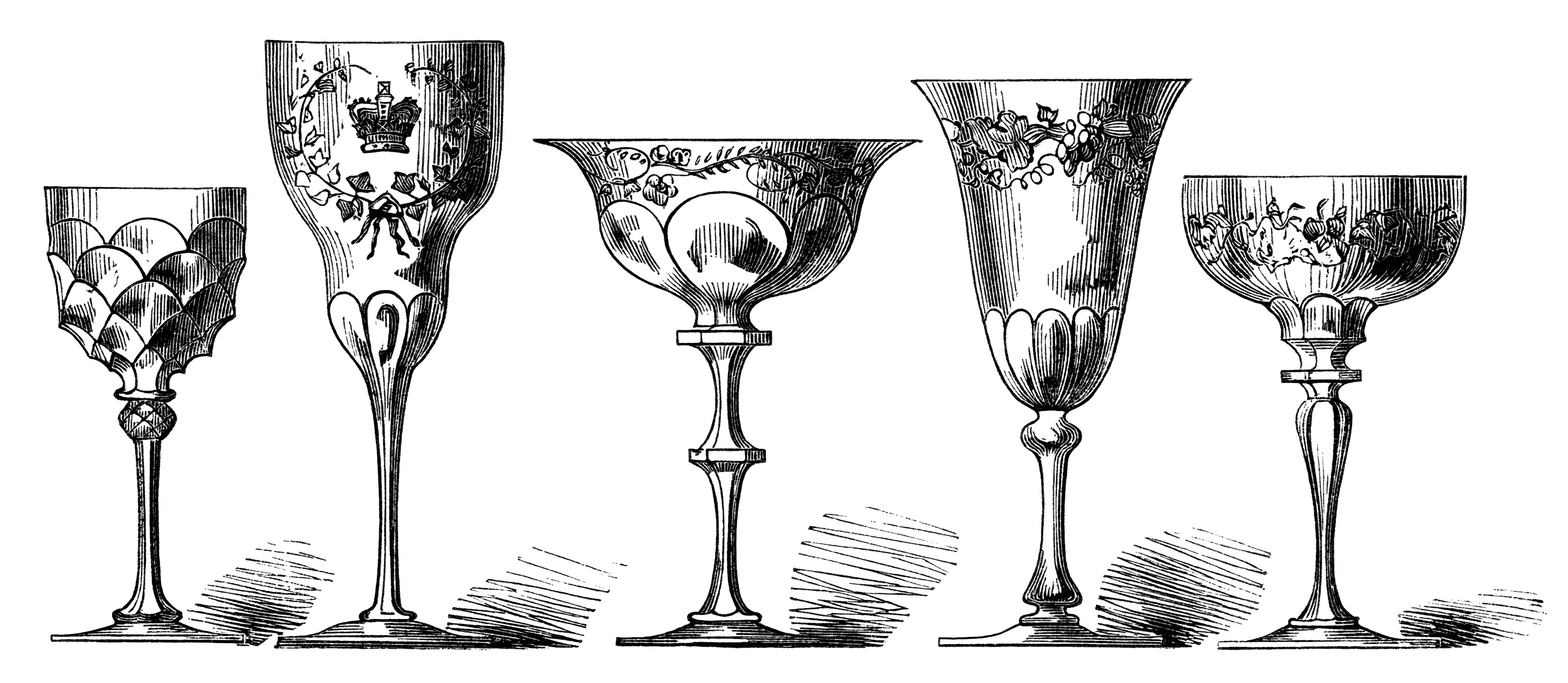 Antique wine engraving free. Glasses clipart vintage glass