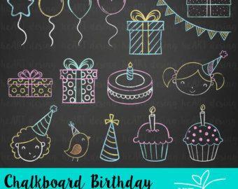 Chalk clipart birthday. Chalkboard digital clip art