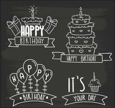 Chalk clipart birthday.  printables cakes and