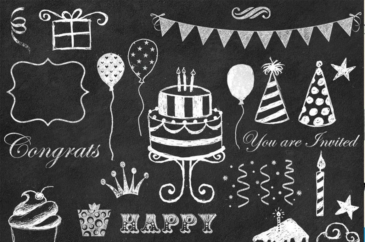 Chalkboard cmpicks . Chalk clipart birthday