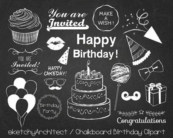 Chalk clipart birthday. Chalkboard digital instant download