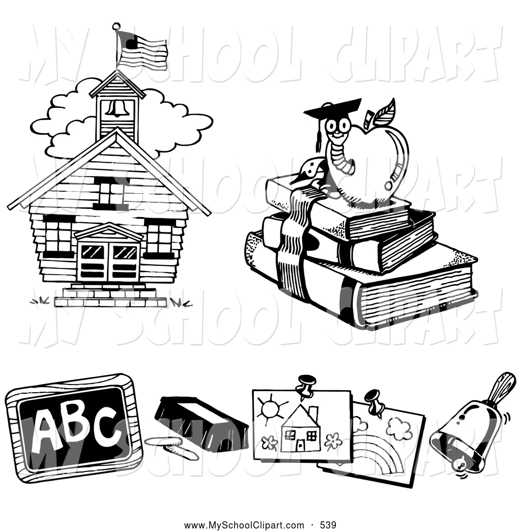 Royalty free black and. Chalk clipart book