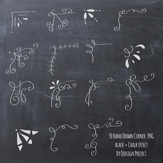 hand drawn corner. Chalk clipart book