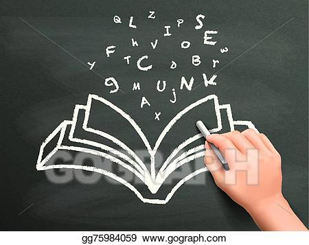 Chalk clipart book. Vector art words flying