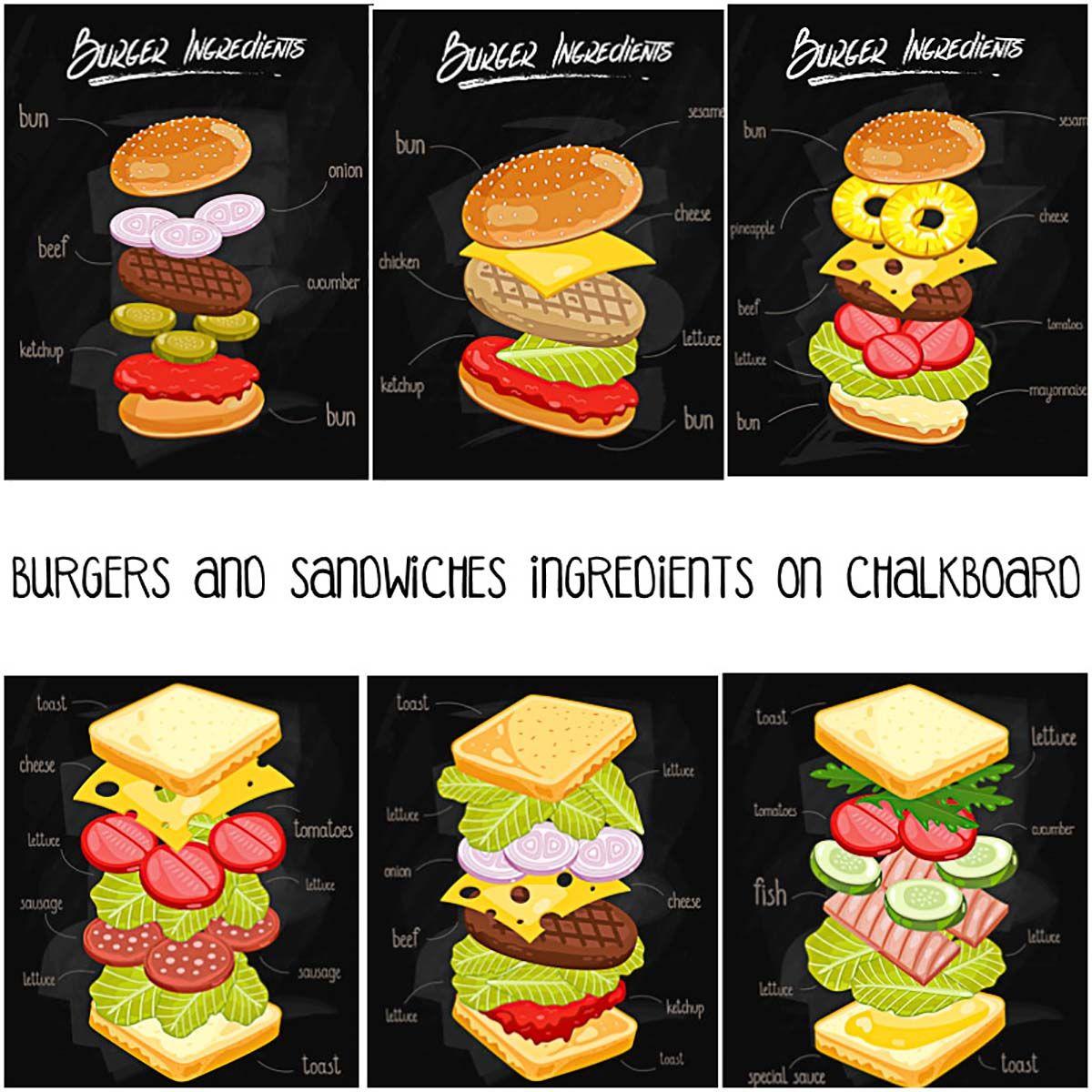 Burgers and sandwiches ingredients. Hamburger clipart burger bar