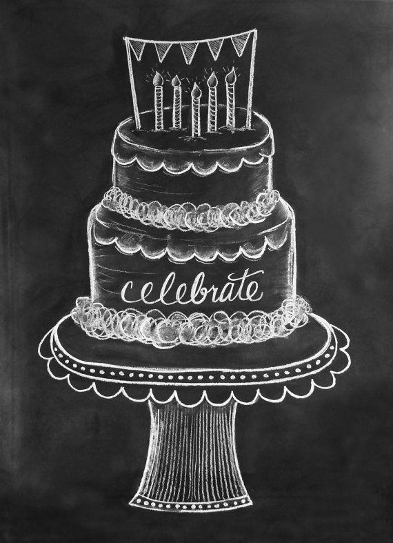 Happy birthday quotes ideas. Chalk clipart cake