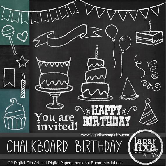 Balloon clipart chalkboard. Birthday party clip art