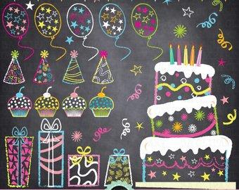 Chalkboard birthday party clip. Chalk clipart cake