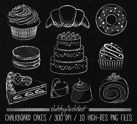 Chalkboard digital instant download. Chalk clipart cake