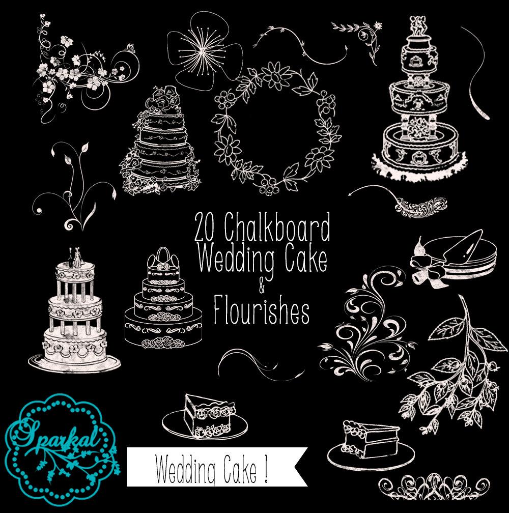 Chalk clipart cake. Sparkal digital design wedding