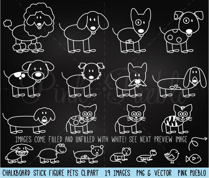 Chalkboard figure pets clip. Chalk clipart chalk stick