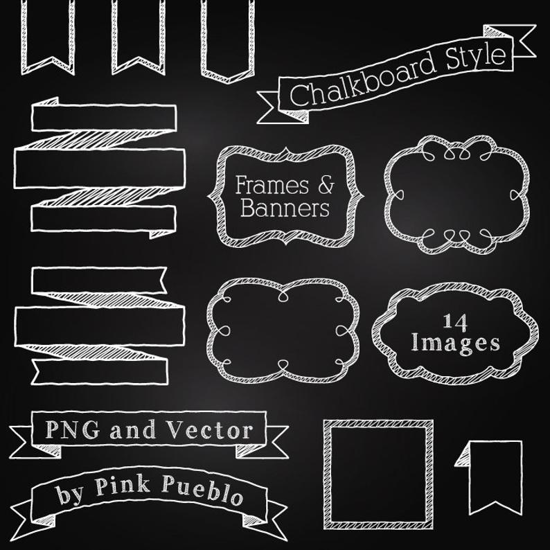 Chalk clipart clip art. Chalkboard frames and banners