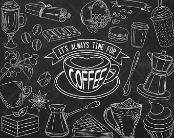 Chalk clipart coffee. Chalkboard etsy vector pack