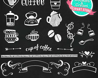Chalkboard etsy set cup. Chalk clipart coffee