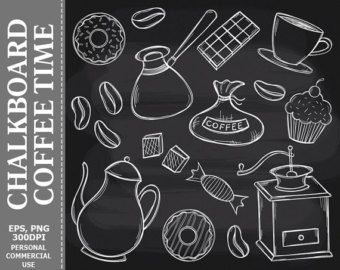 Chalkboard etsy time clip. Chalk clipart coffee