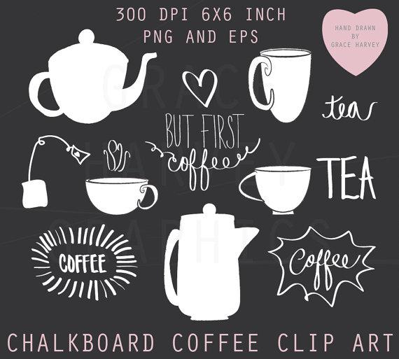 Chalk clipart coffee. Clip art digital illustration