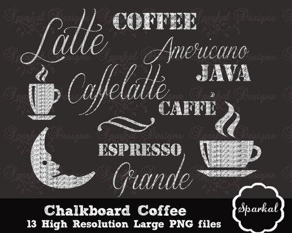 Items similar to chalkboard. Chalk clipart coffee