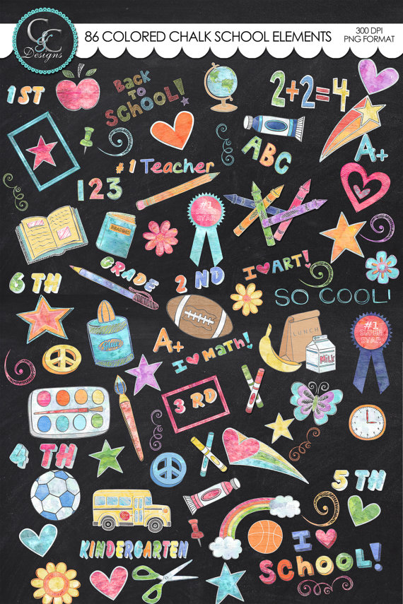 Chalk clipart colored chalk.  school elements instant
