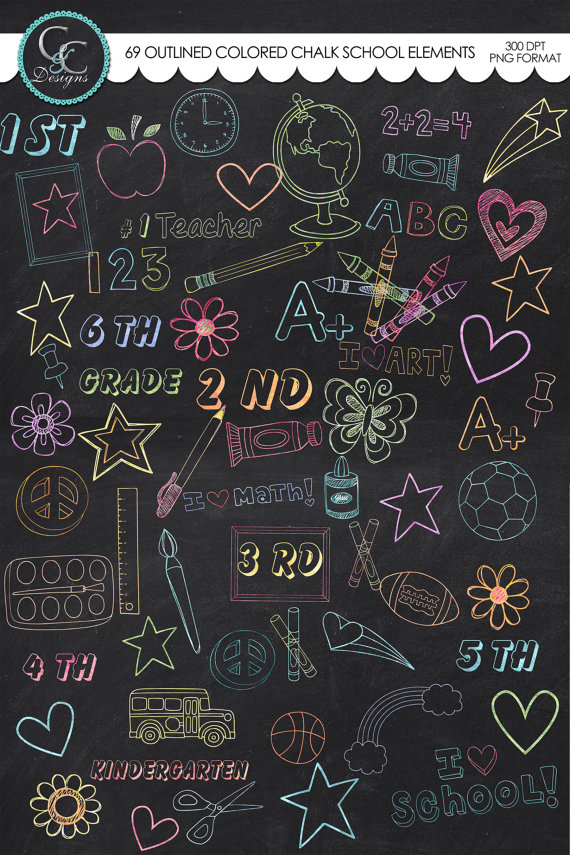 school elements instant. Chalk clipart colored chalk