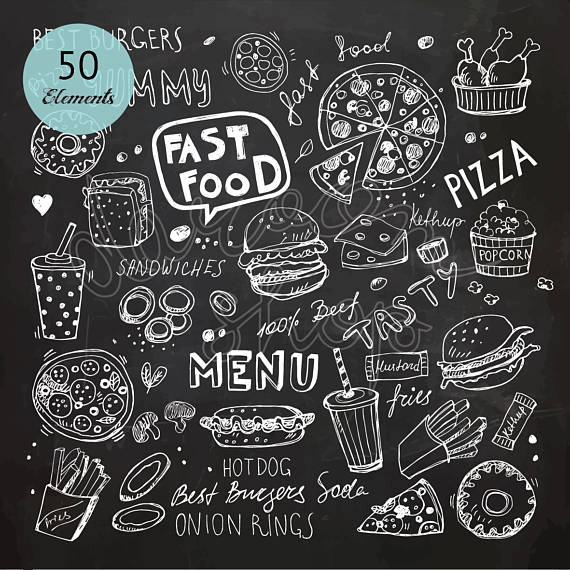 Chalk clipart doodle. Hand drawn fast food