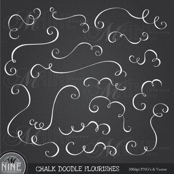 Clip art chalkboard flourishes. Chalk clipart doodle