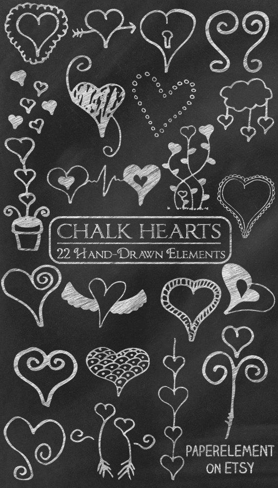 Digital clip art heart. Chalk clipart doodle