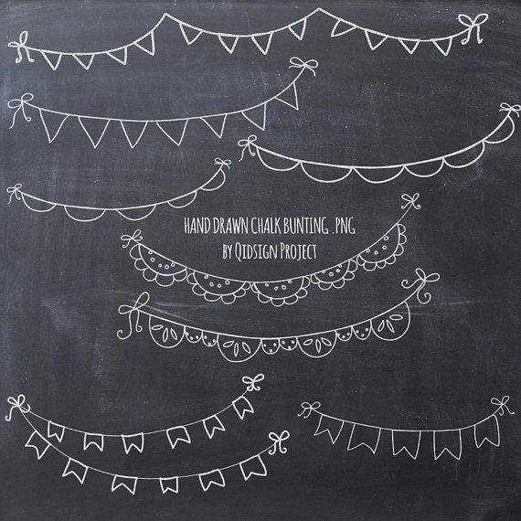 Hand drawn bunting scrapbook. Chalk clipart doodle