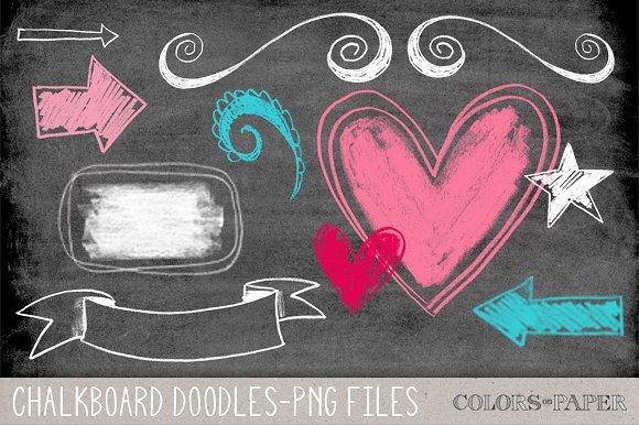 Chalkboard doodles brushes illustrations. Chalk clipart doodle