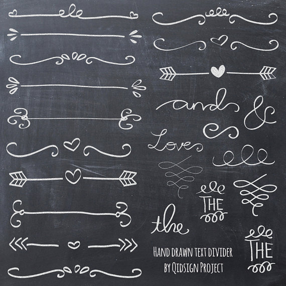 Hand drawn text divider. Chalk clipart doodle