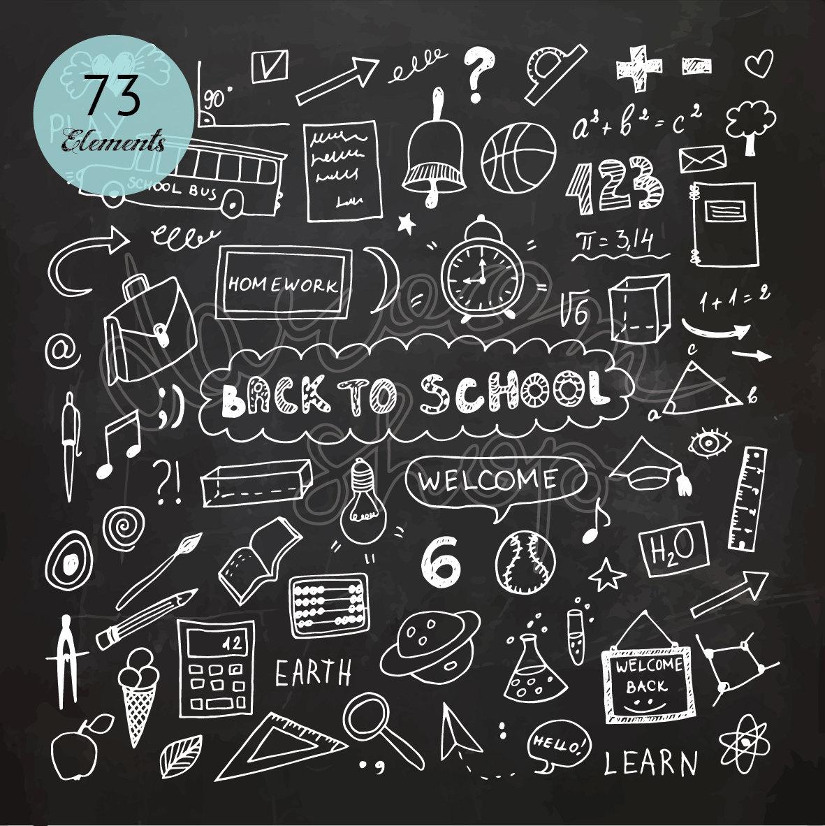 Blackboard clipart nursery school. Chalk hand drawn clip