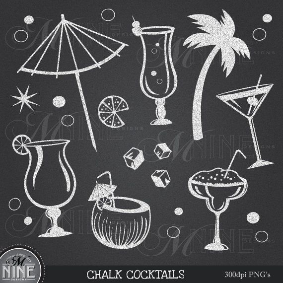 Chalkboard cocktails party clip. Chalk clipart food