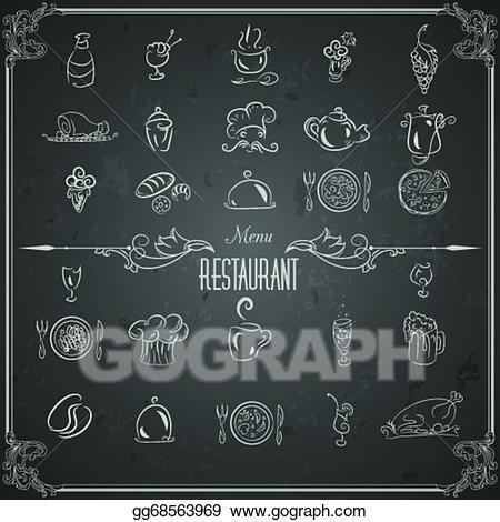 Chalk clipart food. Vector art restaurant menu