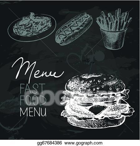 Eps illustration fast hand. Chalk clipart food