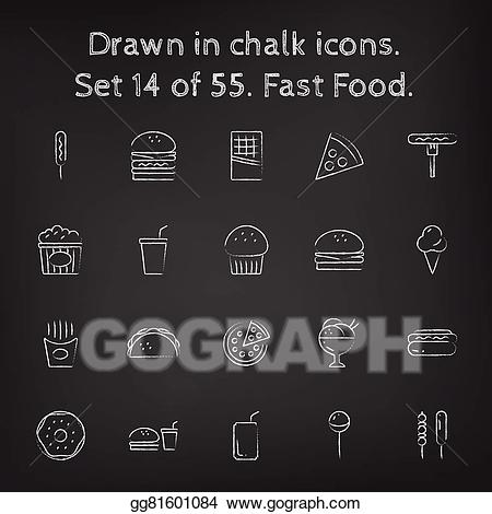 Vector art fast icon. Chalk clipart food