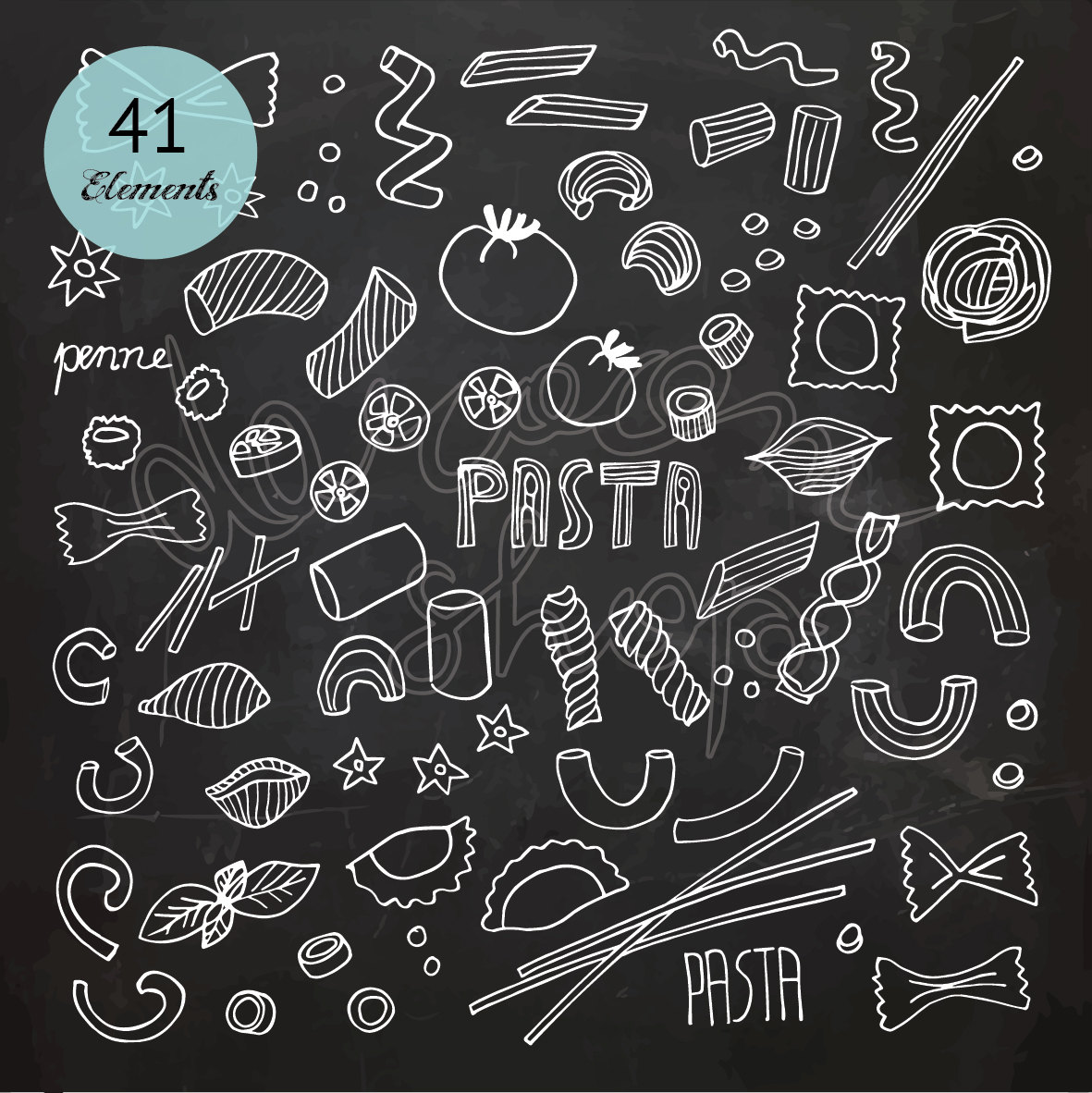 Chalkboard pasta italian kitchen. Chalk clipart food