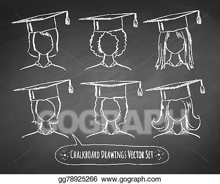 Chalkboard clipart graduation. Vector art drawings of